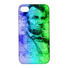 Abraham Lincoln Portrait Rainbow Colors Typography Apple iPhone 4/4S Hardshell Case with Stand