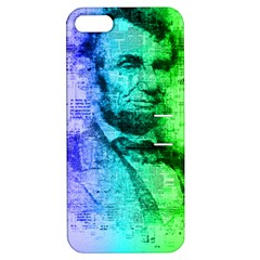 Abraham Lincoln Portrait Rainbow Colors Typography Apple iPhone 5 Hardshell Case with Stand