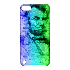 Abraham Lincoln Portrait Rainbow Colors Typography Apple iPod Touch 5 Hardshell Case with Stand