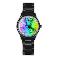 Abraham Lincoln Portrait Rainbow Colors Typography Stainless Steel Round Watch