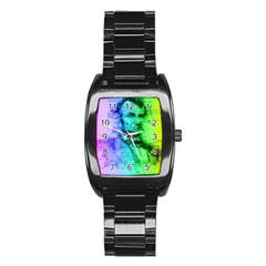 Abraham Lincoln Portrait Rainbow Colors Typography Stainless Steel Barrel Watch