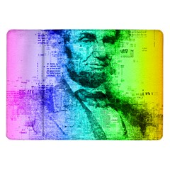 Abraham Lincoln Portrait Rainbow Colors Typography Samsung Galaxy Tab 10.1  P7500 Flip Case