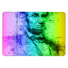 Abraham Lincoln Portrait Rainbow Colors Typography Samsung Galaxy Tab 8.9  P7300 Flip Case
