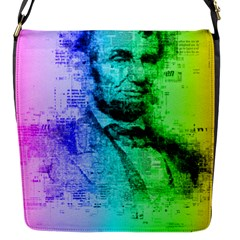 Abraham Lincoln Portrait Rainbow Colors Typography Flap Messenger Bag (S)