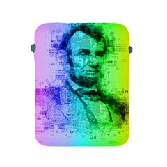 Abraham Lincoln Portrait Rainbow Colors Typography Apple iPad 2/3/4 Protective Soft Cases