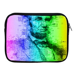 Abraham Lincoln Portrait Rainbow Colors Typography Apple iPad 2/3/4 Zipper Cases