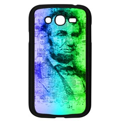 Abraham Lincoln Portrait Rainbow Colors Typography Samsung Galaxy Grand DUOS I9082 Case (Black)