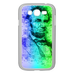 Abraham Lincoln Portrait Rainbow Colors Typography Samsung Galaxy Grand DUOS I9082 Case (White)