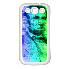 Abraham Lincoln Portrait Rainbow Colors Typography Samsung Galaxy S3 Back Case (White)
