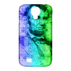 Abraham Lincoln Portrait Rainbow Colors Typography Samsung Galaxy S4 Classic Hardshell Case (PC+Silicone)