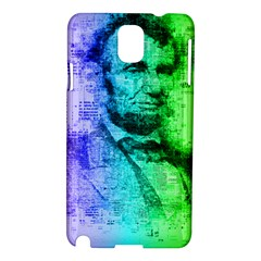 Abraham Lincoln Portrait Rainbow Colors Typography Samsung Galaxy Note 3 N9005 Hardshell Case