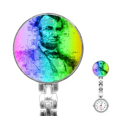 Abraham Lincoln Portrait Rainbow Colors Typography Stainless Steel Nurses Watch