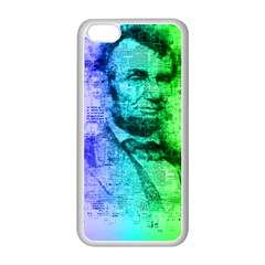 Abraham Lincoln Portrait Rainbow Colors Typography Apple iPhone 5C Seamless Case (White)