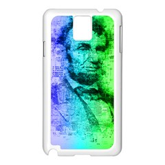 Abraham Lincoln Portrait Rainbow Colors Typography Samsung Galaxy Note 3 N9005 Case (White)