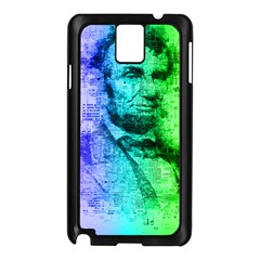 Abraham Lincoln Portrait Rainbow Colors Typography Samsung Galaxy Note 3 N9005 Case (Black)