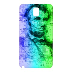 Abraham Lincoln Portrait Rainbow Colors Typography Samsung Galaxy Note 3 N9005 Hardshell Back Case