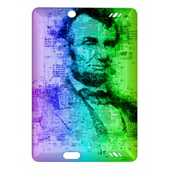 Abraham Lincoln Portrait Rainbow Colors Typography Amazon Kindle Fire HD (2013) Hardshell Case