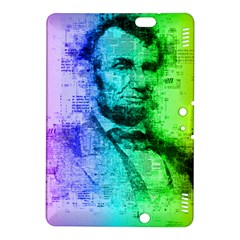 Abraham Lincoln Portrait Rainbow Colors Typography Kindle Fire HDX 8.9  Hardshell Case