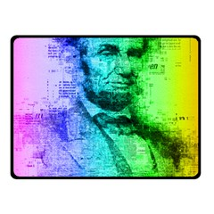 Abraham Lincoln Portrait Rainbow Colors Typography Double Sided Fleece Blanket (Small)