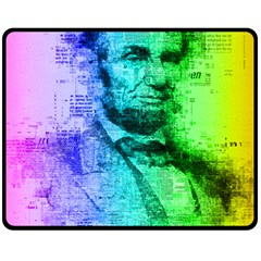 Abraham Lincoln Portrait Rainbow Colors Typography Double Sided Fleece Blanket (Medium)