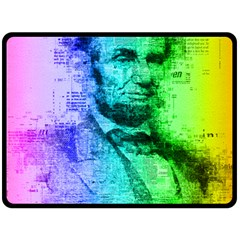 Abraham Lincoln Portrait Rainbow Colors Typography Double Sided Fleece Blanket (Large)