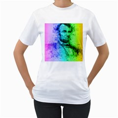 Abraham Lincoln Portrait Rainbow Colors Typography Women s T-Shirt (White)