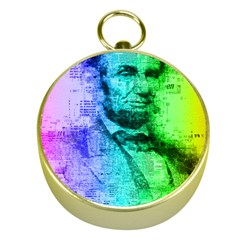 Abraham Lincoln Portrait Rainbow Colors Typography Gold Compasses
