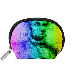 Abraham Lincoln Portrait Rainbow Colors Typography Accessory Pouches (Small)