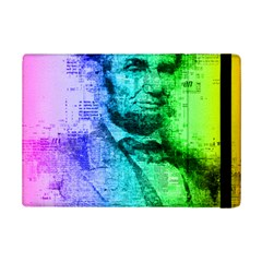 Abraham Lincoln Portrait Rainbow Colors Typography iPad Mini 2 Flip Cases