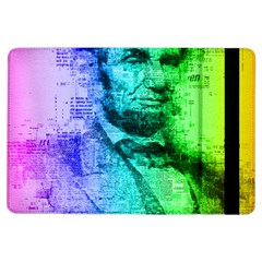 Abraham Lincoln Portrait Rainbow Colors Typography iPad Air Flip
