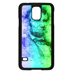 Abraham Lincoln Portrait Rainbow Colors Typography Samsung Galaxy S5 Case (Black)