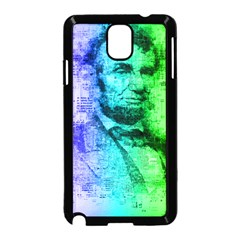 Abraham Lincoln Portrait Rainbow Colors Typography Samsung Galaxy Note 3 Neo Hardshell Case (Black)