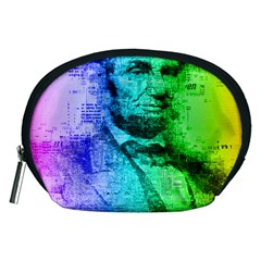 Abraham Lincoln Portrait Rainbow Colors Typography Accessory Pouches (Medium)