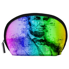 Abraham Lincoln Portrait Rainbow Colors Typography Accessory Pouches (Large)