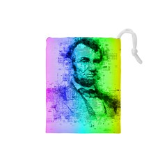 Abraham Lincoln Portrait Rainbow Colors Typography Drawstring Pouches (Small)
