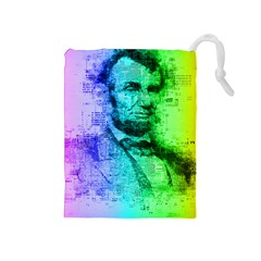 Abraham Lincoln Portrait Rainbow Colors Typography Drawstring Pouches (Medium)