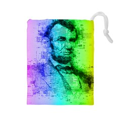 Abraham Lincoln Portrait Rainbow Colors Typography Drawstring Pouches (Large)