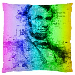 Abraham Lincoln Portrait Rainbow Colors Typography Large Flano Cushion Case (Two Sides)
