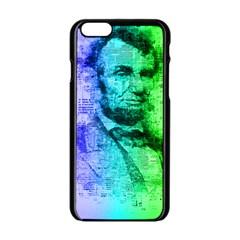 Abraham Lincoln Portrait Rainbow Colors Typography Apple iPhone 6/6S Black Enamel Case