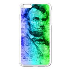 Abraham Lincoln Portrait Rainbow Colors Typography Apple iPhone 6 Plus/6S Plus Enamel White Case