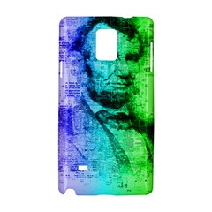 Abraham Lincoln Portrait Rainbow Colors Typography Samsung Galaxy Note 4 Hardshell Case
