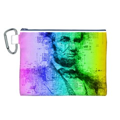 Abraham Lincoln Portrait Rainbow Colors Typography Canvas Cosmetic Bag (L)