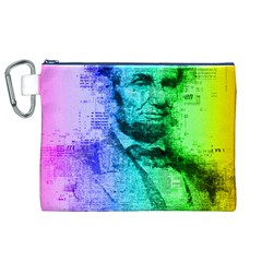 Abraham Lincoln Portrait Rainbow Colors Typography Canvas Cosmetic Bag (XL)