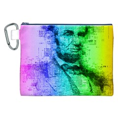 Abraham Lincoln Portrait Rainbow Colors Typography Canvas Cosmetic Bag (XXL)