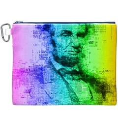 Abraham Lincoln Portrait Rainbow Colors Typography Canvas Cosmetic Bag (XXXL)