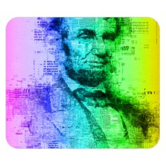 Abraham Lincoln Portrait Rainbow Colors Typography Double Sided Flano Blanket (Small)