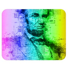 Abraham Lincoln Portrait Rainbow Colors Typography Double Sided Flano Blanket (Medium)