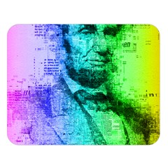 Abraham Lincoln Portrait Rainbow Colors Typography Double Sided Flano Blanket (Large)