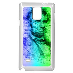 Abraham Lincoln Portrait Rainbow Colors Typography Samsung Galaxy Note 4 Case (White)