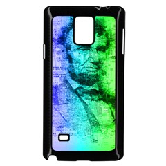 Abraham Lincoln Portrait Rainbow Colors Typography Samsung Galaxy Note 4 Case (Black)